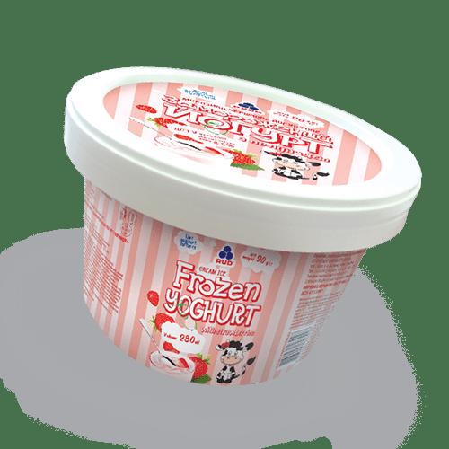 """Мороженое в бумажном стаканчике """"Замороженный йогурт"""" с клубникой ТМ Рудь 90г"""