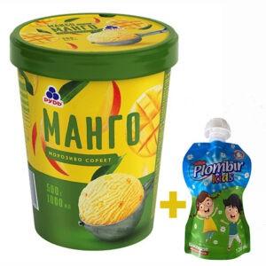 """Мороженое """"Манго"""" в ведре ТМ """"Рудь"""" 500г + мороженое 120г в формате Дой-пак в подарок"""