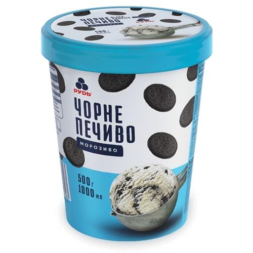 """Мороженое в ведре """"Черное печенье"""" ТМ Рудь  500г"""