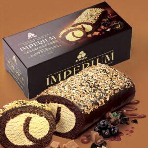 Мороженое торт IMPERIUM Карамельный пломбир в бисквите ТМ Рудь 520г