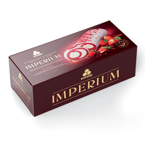 Мороженое торт IMPERIUM Клубничный пломбир в бисквите ТМ Рудь 520г