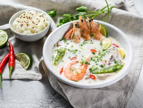 Азиатский сливочный суп с креветками