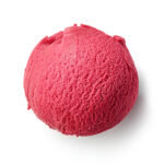 raspberry sorbet on white background
