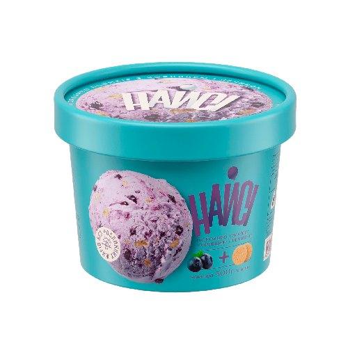 """Мороженое в бумажном стакане """"Пломбир черника и печенье"""" ТМ Найси 500г"""